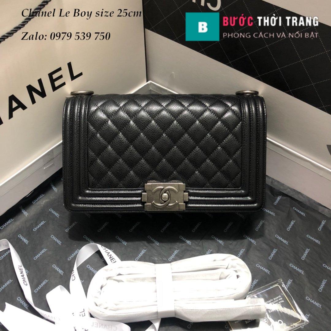 Túi Xách Chanel Boy Siêu Cấp da sần đen size 25cm (1)