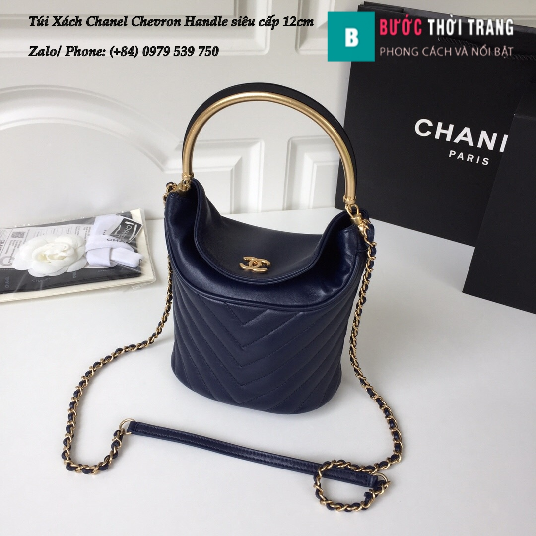 Túi Xách Chanel Chevron Handle with Chic Bucket 12cm – A57861