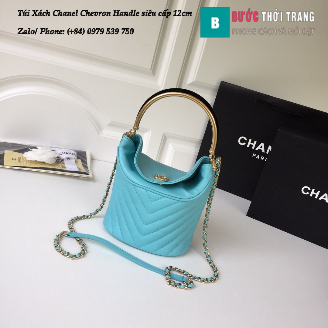 Túi Xách Chanel Chevron Handle with Chic Bucket 12cm – A57861