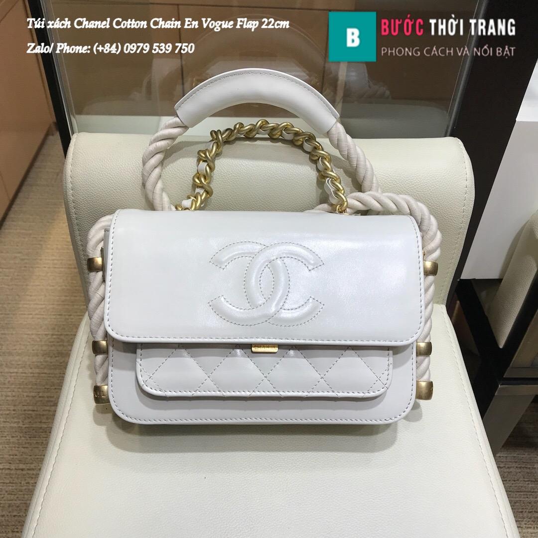 Túi Xách Chanel Cotton Chain En Vogue Flap siêu cấp 22cm – AS0074 (1)