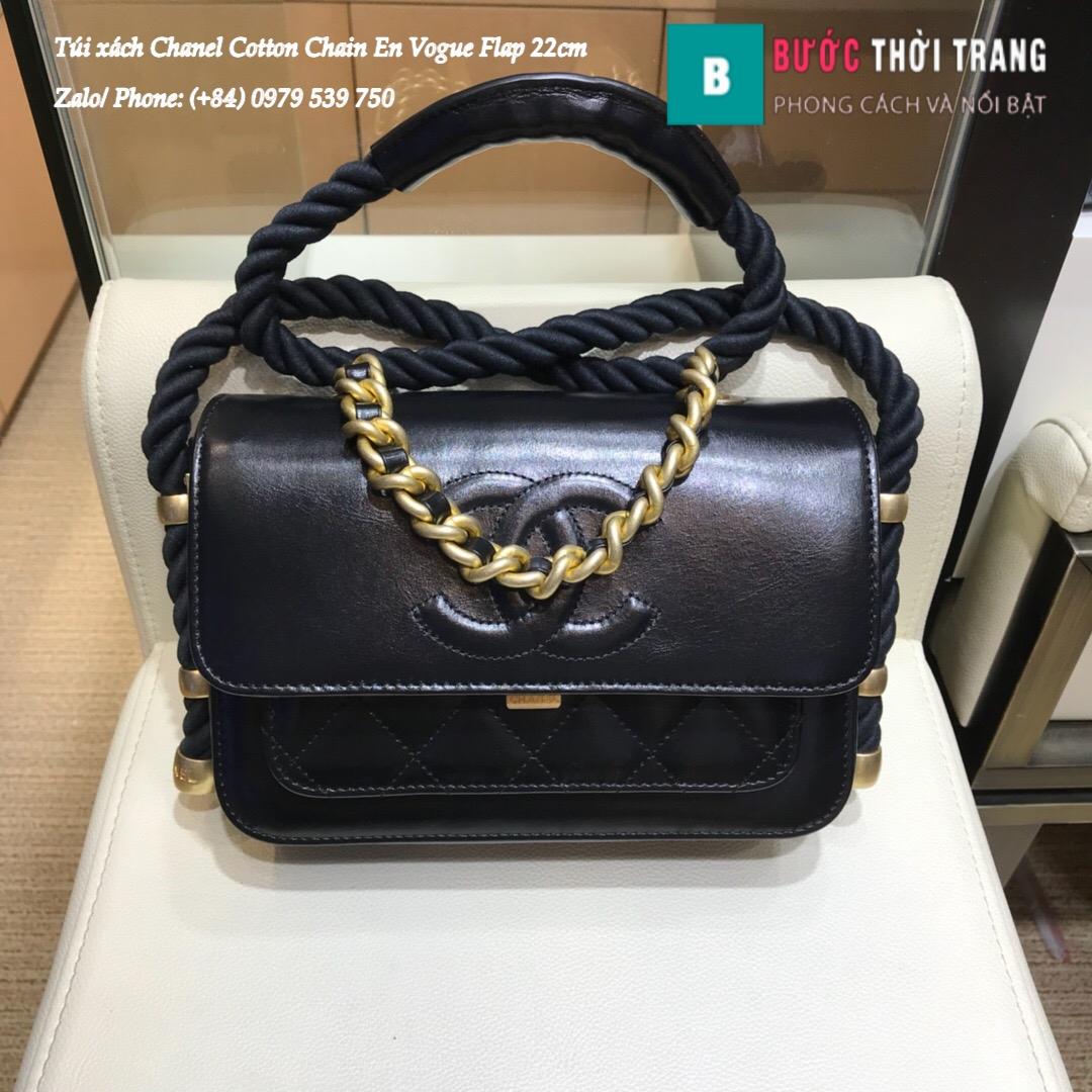 Túi Xách Chanel Cotton Chain En Vogue Flap siêu cấp 22cm – AS0074