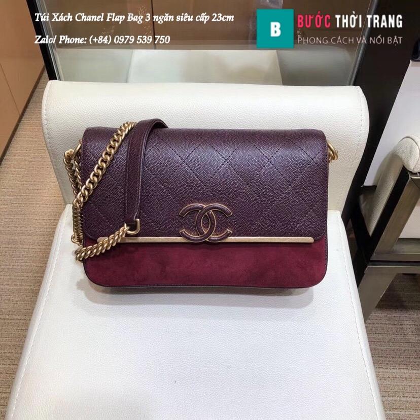 Túi Xách Chanel Flap Bag 3 ngăn siêu cấp size 23cm
